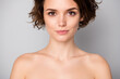 Closeup photo of beautiful naked lady bobbed short hairstyle positive emotions after spa salon procedures perfection concept isolated grey color background