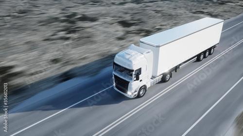 white truck Fototapet