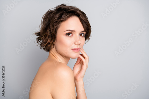 Fotomural Portrait of pretty charming attractive girl look in mirror touch hands face enjo