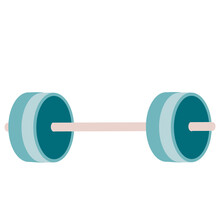 Blue Barbell, Flat, Isolated Object On A White Background, Vector Illustration,