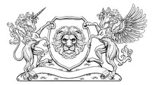 A Crest Coat Of Arms Family Shield Seal Featuring Unicorn, Pegesus Winged Horse And Lion