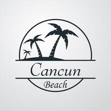 Símbolo Destino De Vacaciones. Icono Plano Texto Cancun Beach En Círculo Con Playa Y Palmeras En Fondo Gris