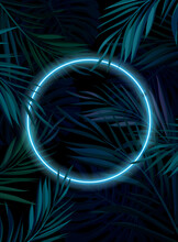 Tropical Glowing Neon Frame. Dark Night Jungle Palm Leaves. Summer Vector Background Illustration.