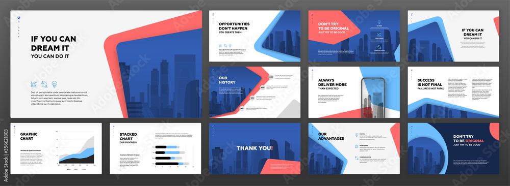 Fototapeta Business powerpoint presentation templates set. Use for modern keynote presentation background, brochure design, website slider, landing page, annual report, company profile.