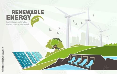 Fotografiet evolution of renewable energy concept of greening of the world