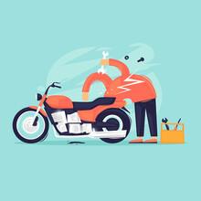 Motorcycle Repair. Flat Design...