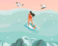 Hand Drawn Vector Stock Abstract Graphic Illustration With A Surfer Girl Surfing With A Dog And Seagulls Isolated On Ocean Wave Landscape Background