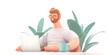 Home Office 3D illustartion