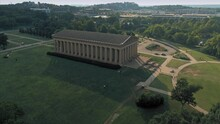 Aerial: The Parthenon In Centennial Park. Nashville, Tennessee, USA