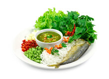 Fried Mackerel (Maing-PLA-too) And Fresh Vegetables