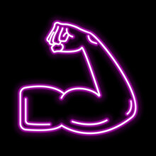 Muscle Icon. Glowing Sign Logo...