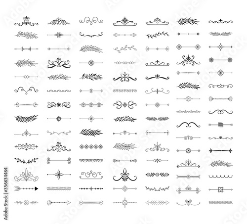 Obraz Collection of hand drawn dividers, borders, frames, lines. Monogram wedding design. Vector isolated illustration. - fototapety do salonu