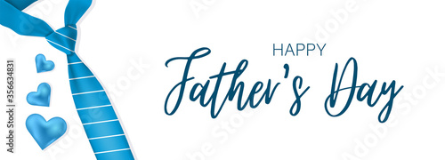 Father's day banner. Realistic vector with necktie, hears, and lettering.
