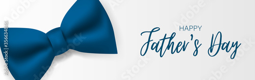 Fototapeta Happy Father's day banner. Realistic vector with a bow. obraz