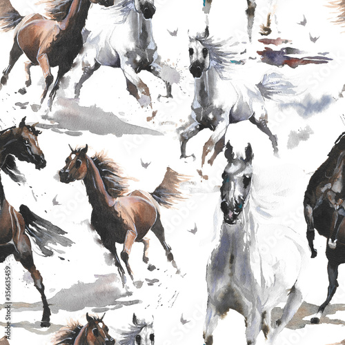 Fototapeta Hand drawn watercolor illustration. Cute cartoon. Seamless pattern. Horses white and dark brown. Mustang wild Arabian.  White background. Pastel color. For cloth, linen and other texture. obraz