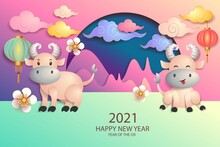 Happy New Year 2021 / Chinese New Year / Year Of The Ox / Zodiac Sign For Greetings Card, Invitation, Posters, Brochure, Calendar, Flyers, Banners