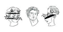 Set Linear Drawings Of Heads Of Antique Statues Of The Goddess And Mythical God In The Engraving Style. Creative Minimal Linear Woman Vector With Growing Branch From Her Head.