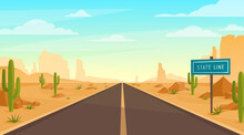 Road In Desert. Vector Illustr...