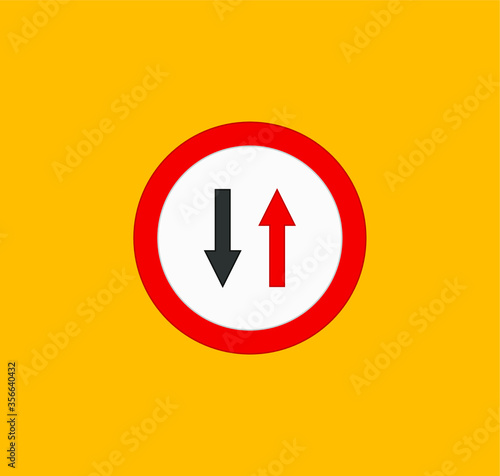 Leinwand Poster icons of traffic signs of priority to the opposite direction
