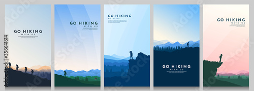 Obraz Vector illustration. Travel concept of discovering, exploring and observing nature. Hiking. Climbing. Adventure tourism. Flat design for flyer, voucher, poster, invitation, gift card. - fototapety do salonu