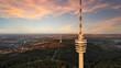 canvas print picture - Fernsehturm Stuttgart im Sonnenuntergang