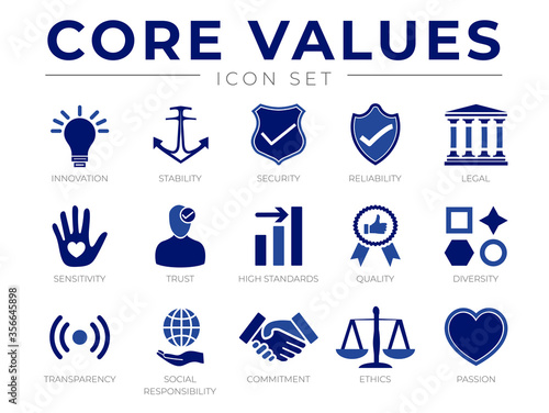 Business Company Values icon Set. Innovation, Stability, Security, Reliability, Legal, Sensitivity, Trust, High Standard, Transparency, Social Responsibility, Commitment, Ethics, Passion Icons