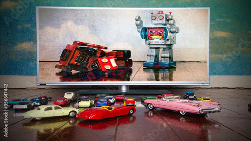 Drive-in  Si fi film with retro toys Canvas Print