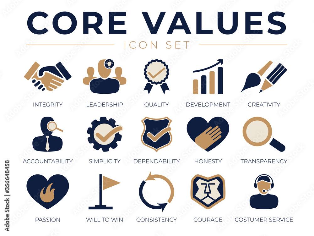 Fototapeta Company Core Values Icon Set. Integrity, Leadership, Quality Development, Creativity, Accountability, Dependability, Passion, Service Icons.