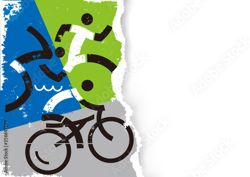 Obraz Triathlon racers icons on grunge stylized torn paper background.  Illustration of Three triathlon athletes. Vector available. Place for your text or image. Vector available - fototapety do salonu