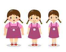 Vector Illustration Cute Cartoon Fat Girl, Average Girl, And Skinny Girl. Girl With Different Weight.