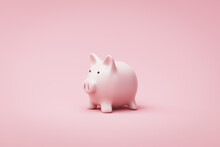 Piggy Bank Or Money Box On Pink Background With Savings Money Concept. Pink Money Box And Savings Idea. 3D Rendering.
