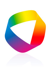 Moebius Strip, Rainbow Colored Mobius Band. Surface With Only One Side And One Boundary. Mathematical Non Orientable. Isolated Icon Vector Illustration On White Background.