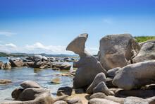 Rock Eroded By The Wind In The Shape Of A Woman Sitting On The Punta Acuta Beach, Santa Teresa Di Gallura - Olbia-Tempio - Sardinia