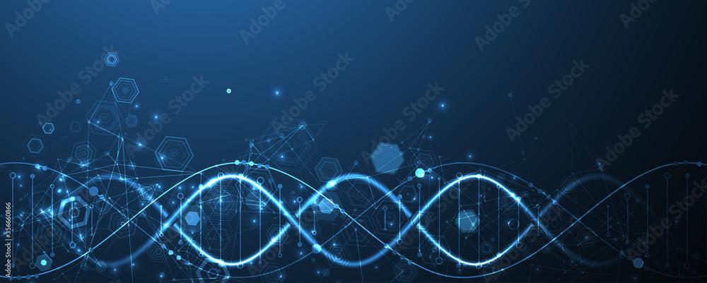 Fototapeta Glowing neon DNA chain. Biotechnology, biochemistry, science, medicine concept.