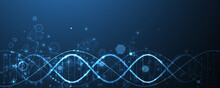Glowing Neon DNA Chain. Biotec...