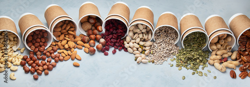 Different types of Nuts in ecofriendly cups Canvas Print