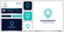 Pin Icon With Fingerprint Patt...