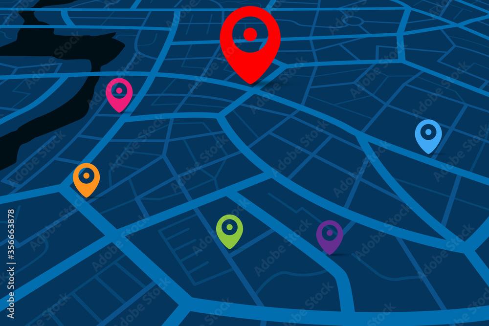 Fototapeta 3D Map with gps destination point 006
