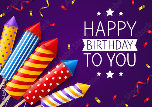 Fotografie, Tablou Group of color firework rockets on purple background - birthday greeting card fo