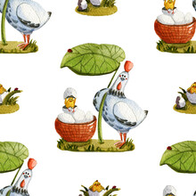 Watercolor Chicken Seamless Pattern Under The Leaf And Chickens