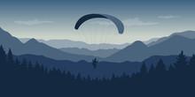 Paragliding In Blue Mountains Nature Landscape Vector Illustration EPS10