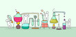 chemical experiment with working little people