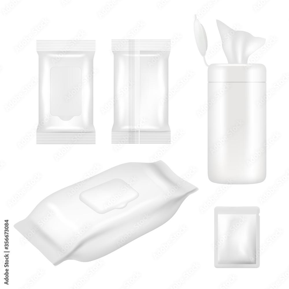 Fototapeta Vector realistic white blank wet wipes packaging mockup set