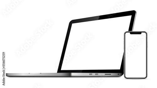 Laptop, smartphone. Template, mockup Fototapete