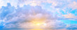 Leinwandbild Motiv Panorama of sunset sky with bright sun