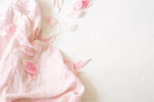 Pink Fabric And Peony Petals O...