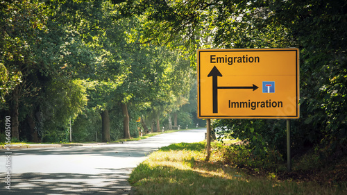 Street Sign Emigration versus Immigration Canvas Print