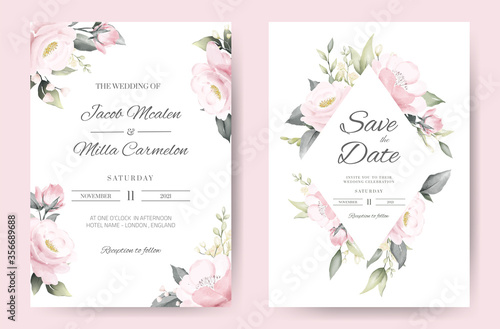 wedding invitation card template set with pink rose watercolor painting Fototapeta