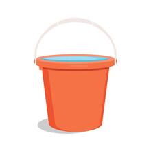 Bucket With Water. Flat Vector...