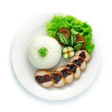 Smoke Chicken Ham And Teriyaki Sauce Served With Rice